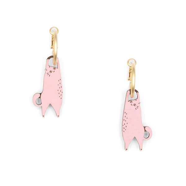 Hanging Cat Pink Earrings