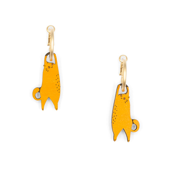 Hanging Cat Ginger Earrings
