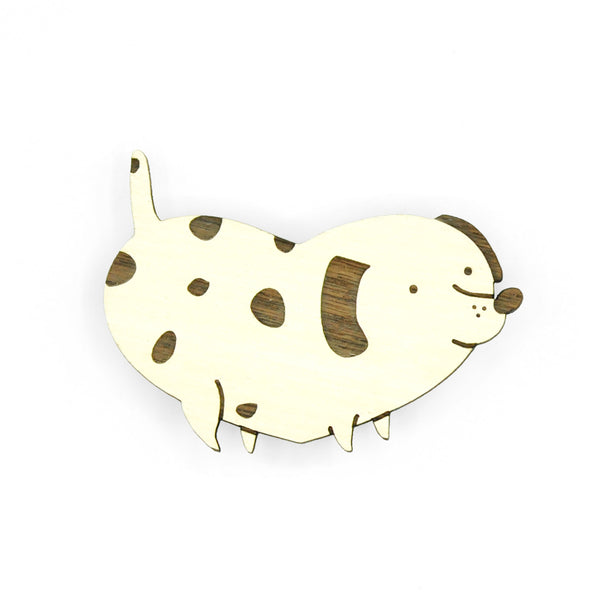 Cream white wooden dog brooch.