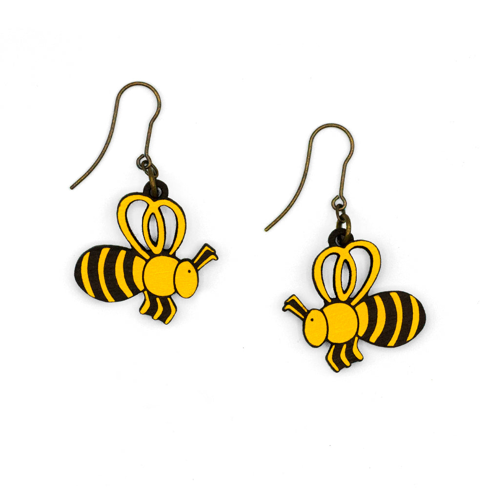 Yellow bee earring with stripes. The material is hand-painted wood and the hook is in old gold.