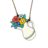 Flowers in a Jug necklace, made of laser cut wood in the shape of a white painted vase with colorful flowers inside.
