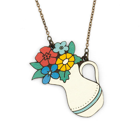 Collar FLOWER IN A JUG NECKLACE, jarra de color blanca con flores de colores