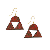 Wooden earrings painted in earth red or garnet with two triangles and a semicircle. They have hooks in matt gold color.