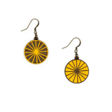 Yellow circular wooden earrings that symbolize a sun, with rays. The hooks are old gold.
