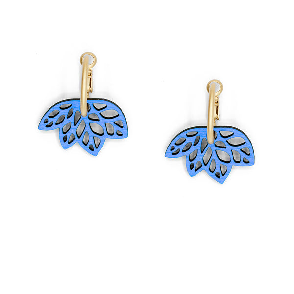 Ribbon Leaves Blue Hoop Earrings