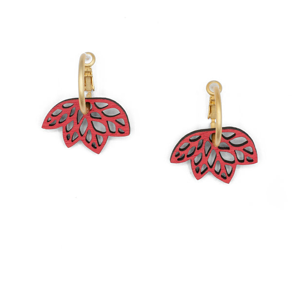 Ribbon Leaves Red Hoop Earrings