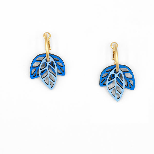 Rustling Leaves Blue & Sky Blue | Modular Hoop Earrings