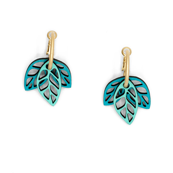 Rustling Leaves Teal & Green | Modular Hoop Earrings