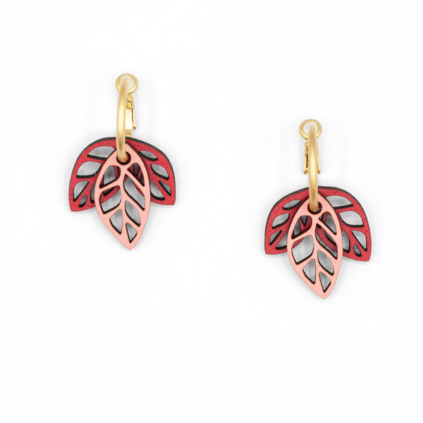 Rustling Leaves Red & Pink | Modular Hoop Earrings