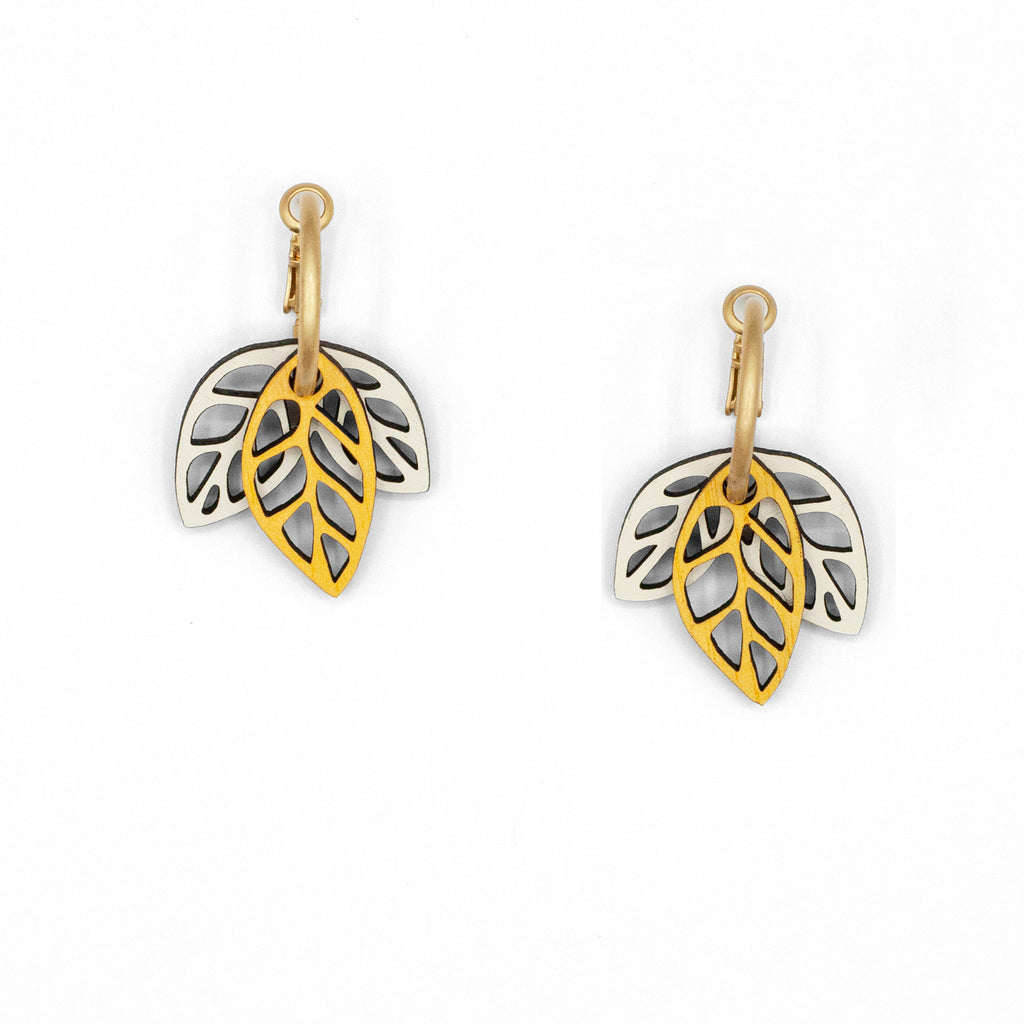 Rustling Leaves Yellow & White | Modular Hoop Earrings