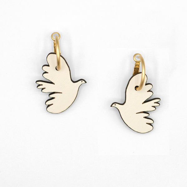 Kissing Dove Hoop Earrings