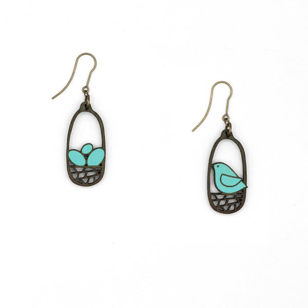 Nest & Bird Hook Earrings