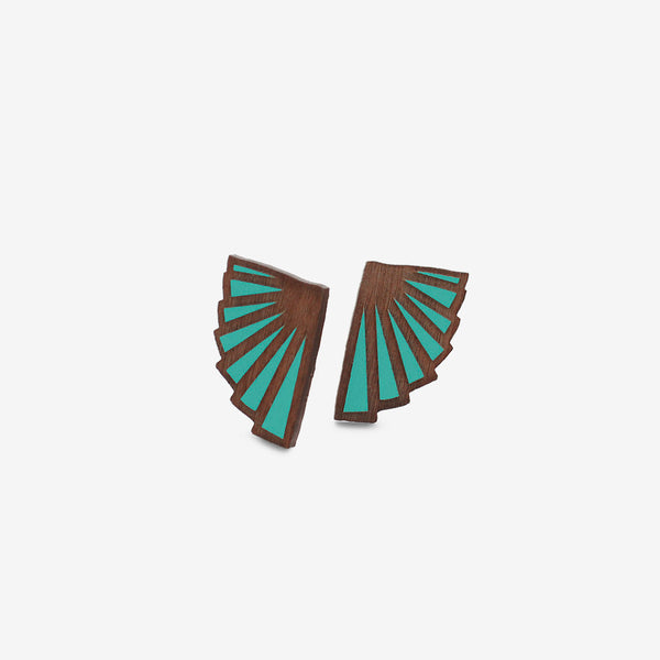 Éventail Teal Earrings