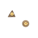 Back of the earrings where you can see the metal part of the piece and the wooden part: a triangle and a circle.
