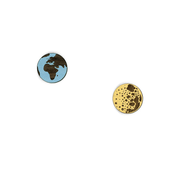 Earth & Moon Stud Earring