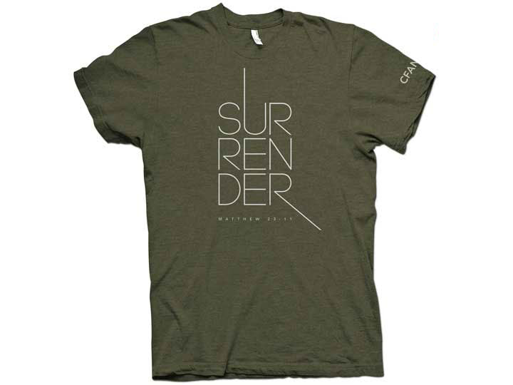 Surrender (T-shirt, Olive) - Christ For All Nations Store - Christian Products