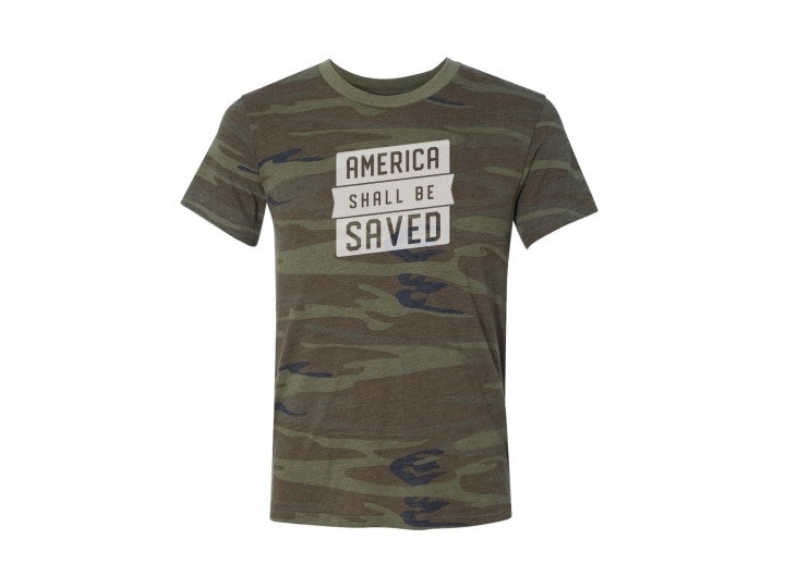 America Shall Be Saved (T-shirt, Camo)