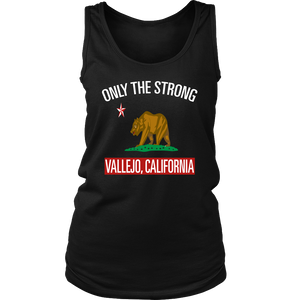 ONLY THE STRONG VALLEJO, CALIFORNIA BLACK TANK TOP (LIMITED EDITION) WOMENS