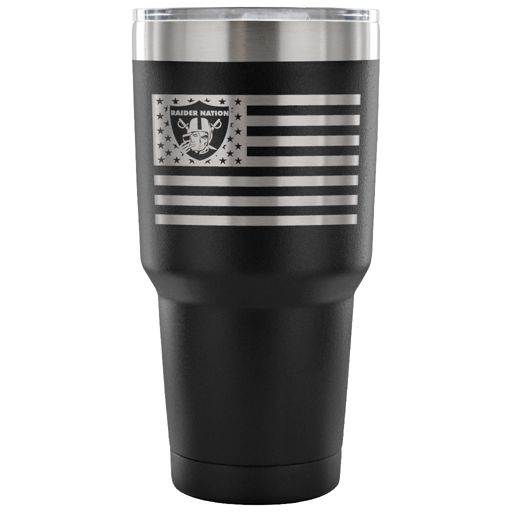 RAIDER NATION SKULL FLAG 30 OUNCE BLACK TUMBLER