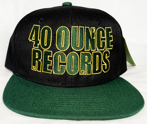 40 OUNCE RECORDS BLACK, GREEN & GOLD SNAP BACK BASEBALL HAT