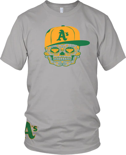 A'S CANDY SKULL GREY T-SHIRT (LIMITED EDITION) OAKLAND ATHLETICS EDITION