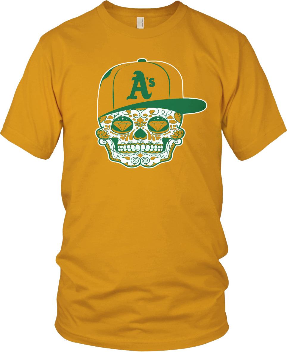 A'S CANDY SKULL GOLD T-SHIRT (LIMITED EDITION) OAKLAND ATHLETICS EDITION