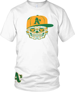 A'S CANDY SKULL WHITE T-SHIRT (LIMITED EDITION) OAKLAND ATHLETICS EDITION