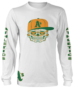 A'S CANDY SKULL LONG SLEEVE WHITE T-SHIRT (LIMITED EDITION) OAKLAND ATHLETICS EDITION