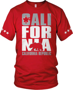 CALIFORNIA BEAR RED T-SHIRT (LIMITED EDITION) 5 STAR