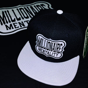 MILLIONAIRE MENTALITY SNAP BACK BLACK & WHITE BASEBALL HAT