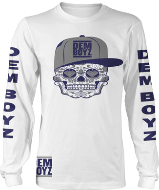 DEM BOYZ WHITE, BLUE & GREY CANDY SKULL LONG SLEEVE T-SHIRT (LIMITED EDITION) DALLAS COWBOYS