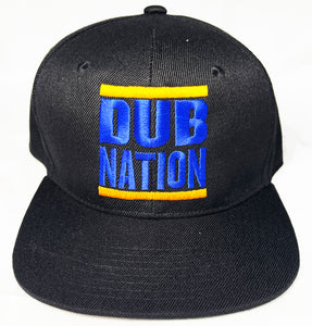 DUB NATION BLACK, BLUE & GOLD SNAPBACK BLACK BASEBALL HAT