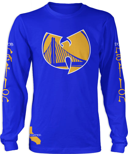 DUB NATION WU TANG BLUE LONG SLEEVE T-SHIRT (LIMITED EDITION) GOLDEN STATE WARRIORS EDITION