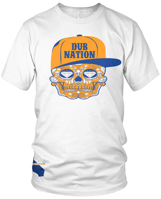 DUB NATION CANDY SKULL WHITE T-SHIRT (LIMITED EDITION) GOLDEN STATE WARRIORS EDITION