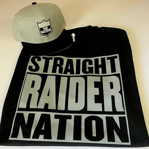 STRAIGHT RAIDER NATION BLACK T-SHIRT & HAT PLAYER PACK (LIMITED EDITION) RAIDER NATION EDITION