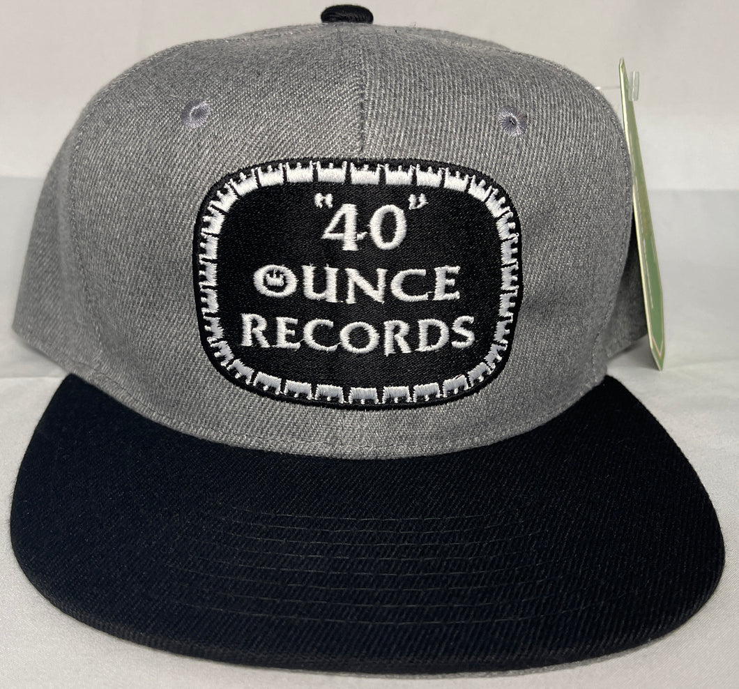 40 OUNCE RECORDS GREY, BLACK & WHITE SNAP BACK BASEBALL HAT