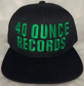 40 OUNCE RECORDS BLACK & GREEN SNAP BACK BASEBALL HAT