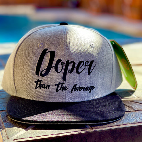 DOPER THAN THE AVERAGE GREY & BLACKSNAP BACK BASEBALL HAT
