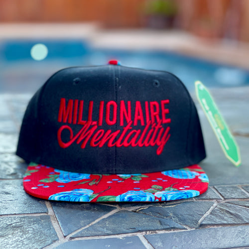 MILLIONAIRE MENTALITY BLACK & RED SNAP BACK BASEBALL HAT (TROPICAL EDITION)