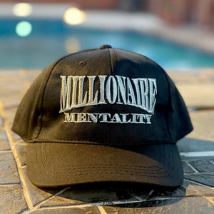 MILLIONAIRE MENTALITY BLACK & SILVER SNAP BACK POLO STYLE HAT