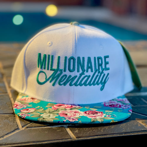 MILLIONAIRE MENTALITY WHITE & TEAL SNAP BACK BASEBALL HAT (TROPICAL EDITION)
