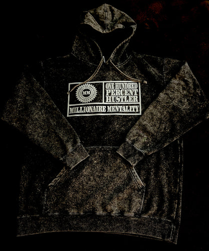 MILLIONAIRE MENTALITY BLACK MINERAL WASH HOODIE (LIMITED EDITION) METALLIC SILVER EDITION