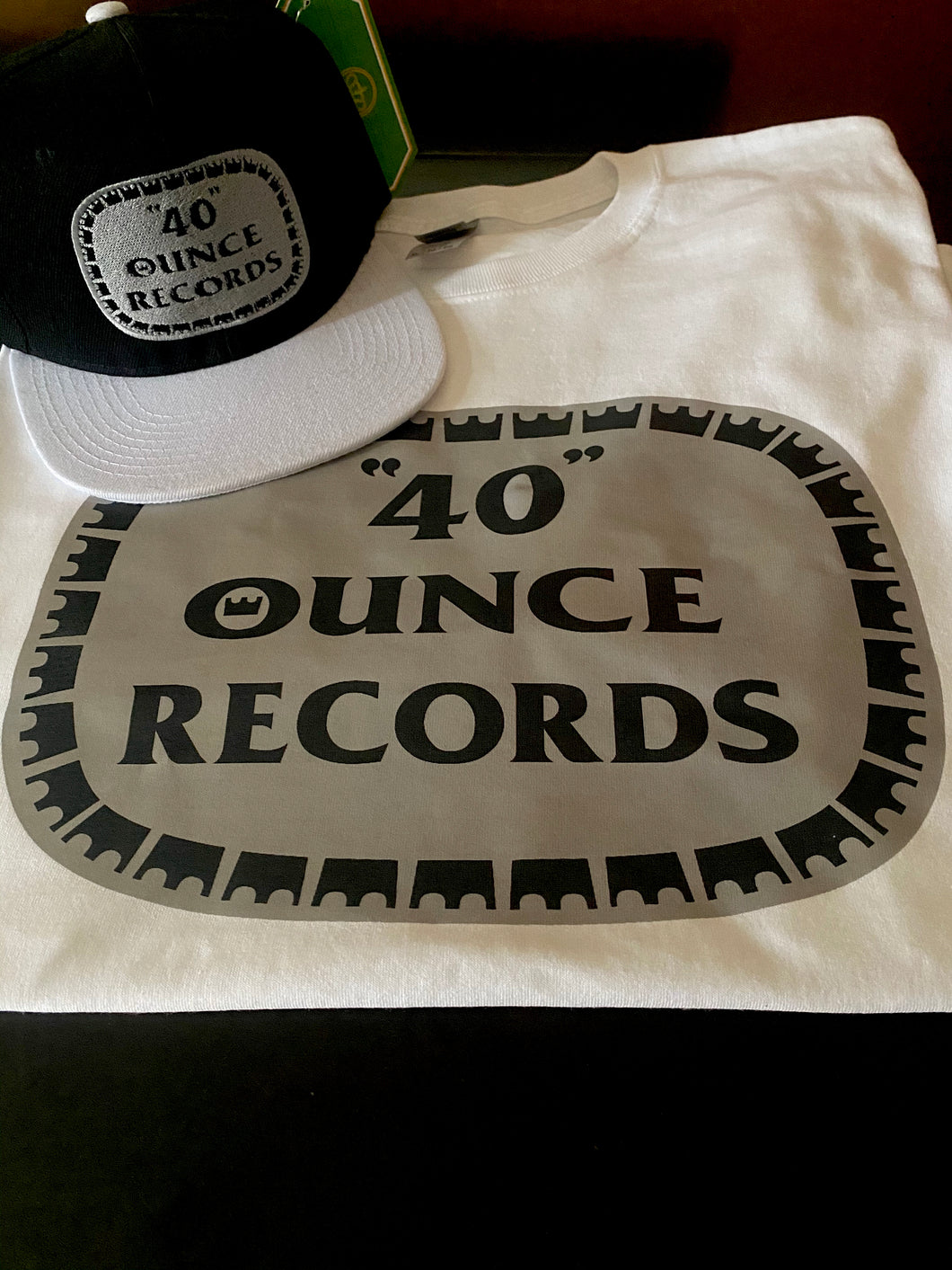 40 OUNCE RECORDS WHITE T-SHIRT & HAT PLAYER PACK (LIMITED EDITION)