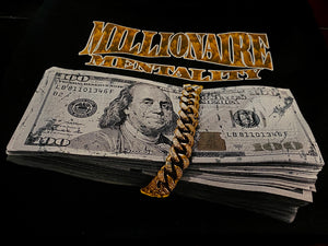 MILLIONAIRE MENTALITY GOLD WRAP BLACK T-SHIRT (LIMITED EDITION)