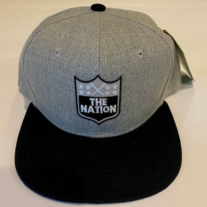 THE NATION BLACK & GREY SNAP BACK BASEBALL HAT