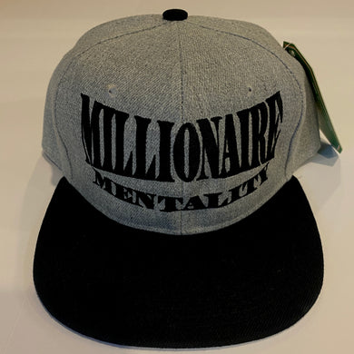 MILLIONAIRE MENTALITY GREY & BLACK SNAP BACK BASEBALL HAT