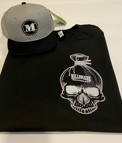 MILLIONAIRE MENTALITY MONEY BAG SKULL  BLACK T-SHIRT & HAT PLAYER PACK (LIMITED EDITION) 707 EDITION