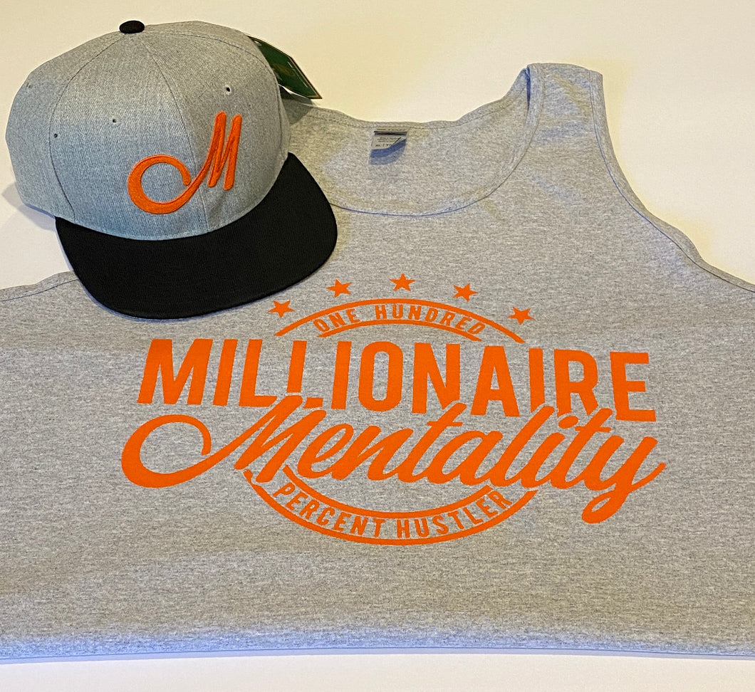 MILLIONAIRE MENTALITY GREY & ORANGE TANK TOP & HAT PLAYER PACK