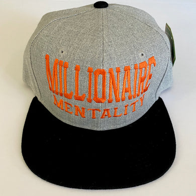 MILLIONAIRE MENTALITY LOGO SNAP BACK GREY & BLACK BASEBALL HAT