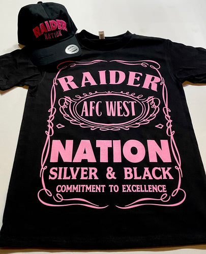 RAIDER NATION BLACK & PINK T-SHIRT & HAT PLAYER PACK (LIMITED EDITION) RAIDER NATION EDITION